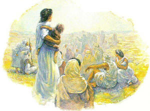 woman with a child in a crowd listening to Jesus