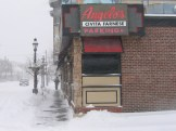 7:30 this morning, the sidewalk at Angelo's is shoveled and salted and basically down to pavement. Gold star plus plus!