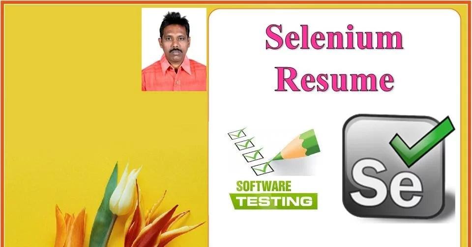selenium tester resume - Selenium Tester Resume