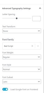 Advanced Heading block typography settings