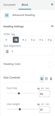 Advanced Heading block settings