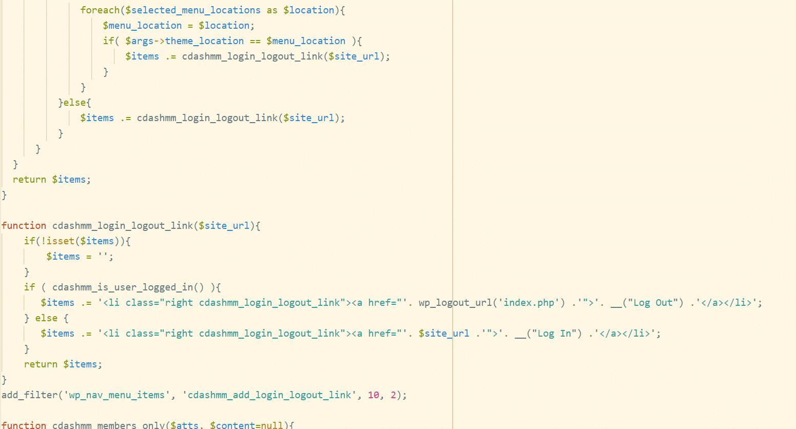 Adding a login/logout link to WordPress Menu