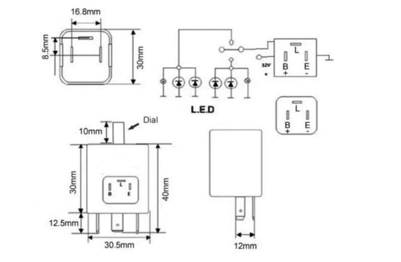 12V 24V 3-Pin LED Adjustable Car Flasher Flash Relay For