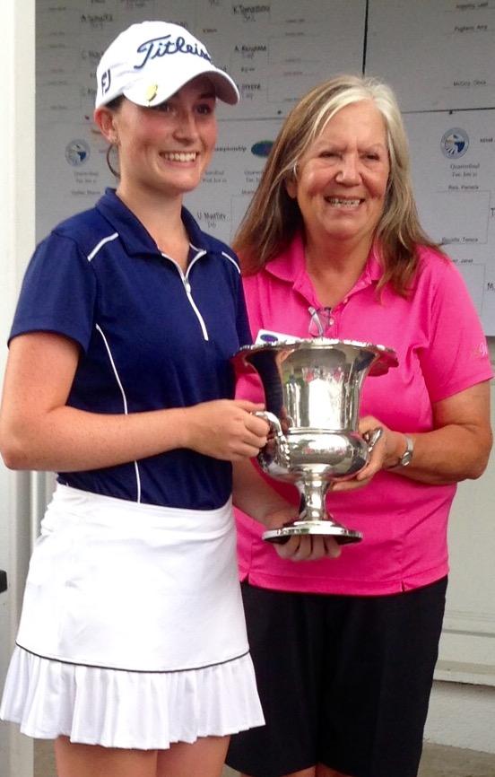 GCWGA Past President Gloria Landry presents the MET trophy to 2016 Champion Katie Hallinan