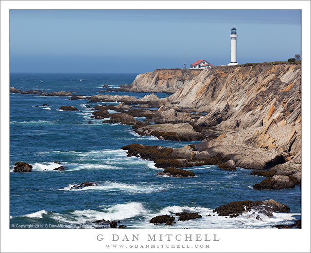 Point Arena Lighthouse Coastal Bluffs Surf by G Dan Mitchell