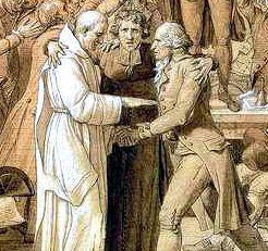 fragment przedstawiający pojednanie religii i idei - pośrodku wizerunek Henriego Grégoire