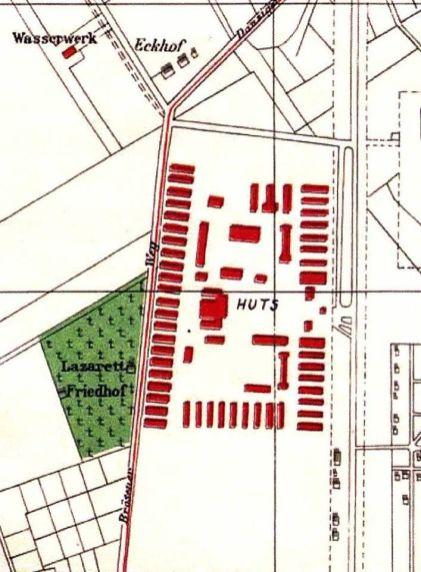 Fragment planu Gdańska z 1944 r. z zaznaczonym zespołem obozów pracy przymusowej przy ówczesnej Brösener Weg.