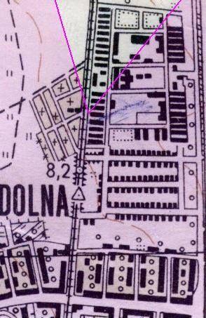 """Fragment planu Gdańska z 1954 r. z zaznaczeniem """"pola widzenia"""" fotografa, który wykonał zdjęcie (oprac. Krzysztof Wasilewski)."""