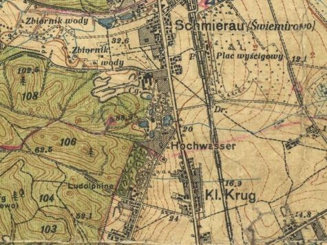 Stawowie Hochwasser na planie z 1926