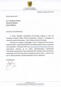 Władysław Zawistowski w imieniu marszałka odpowiada wymijająco.