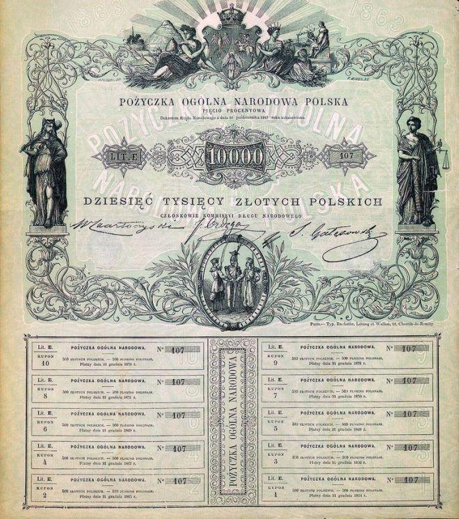 Pożyczka Ogólna Narodowa Polska na 10 000 złotych, ustanowiona przez Rząd Narodowy w 1863 roku, źródło Wikipedia.