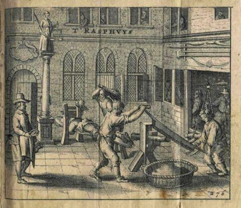 Dom Poprawy w Amsterdamie, raszplowanie drewna, w tle chłosta (Melchior Fokkens, 1662)