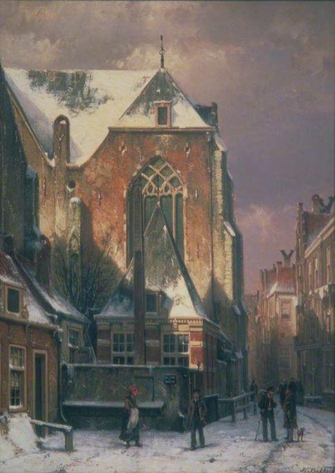 Scena zimowa w Amsterdamie - Willem Koekkoek