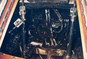 Spalone doszczętnie wnętrze modułu dowodzenia misji Apollo 1