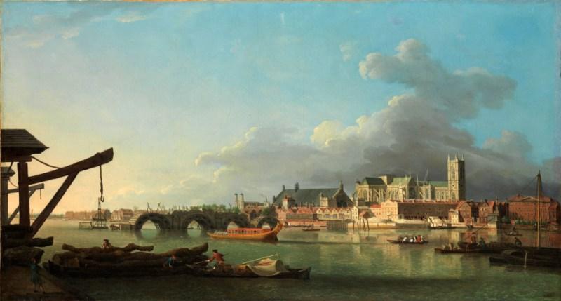 Budowa mostu Westminster - Samuel Scott, 1742