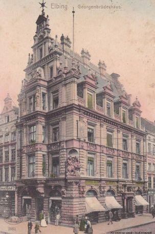 Pocztówka: Elbing, Georgenbruderhaus. Data nadania: Königsberg 1904.