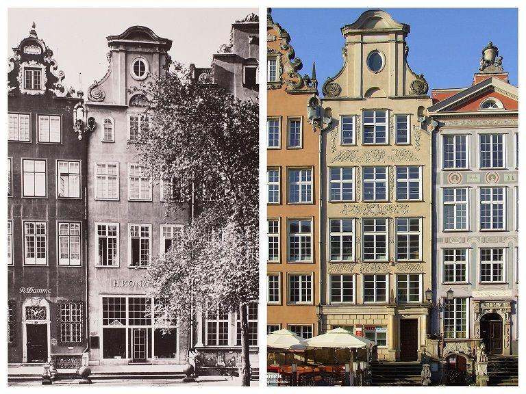 Kamienice przy Długim Targu 10. 9 i 8. Po Lewej zdjęcie z przed 1945 roku, po prawej widok współczesny. Zmieniona została liczba i wysokości kondygnacji w stosunku do pierwowzoru
