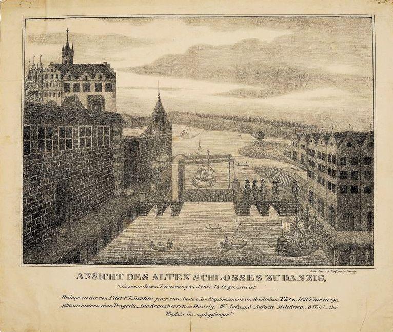 Zamczysko w roku 1411 wg Jana Seyfferta, 1834