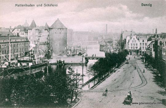 Ulica Szopy, widoczne tory tramwajowe