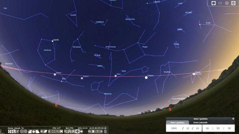 Wspaniała parada planet podczas Wigilii w 1941 roku (symulacja w programie Stellarium)