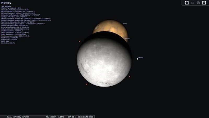 Zakrycie Marsa przez Merkurego z dnia 11.08.2079, widziane z rejonu Bliskiego Wschodu