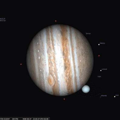 Zakrycie Urana przez Jowisza z dnia 28.08.4648 roku, widziane z rejonu Przylądka Branco w Brazylii