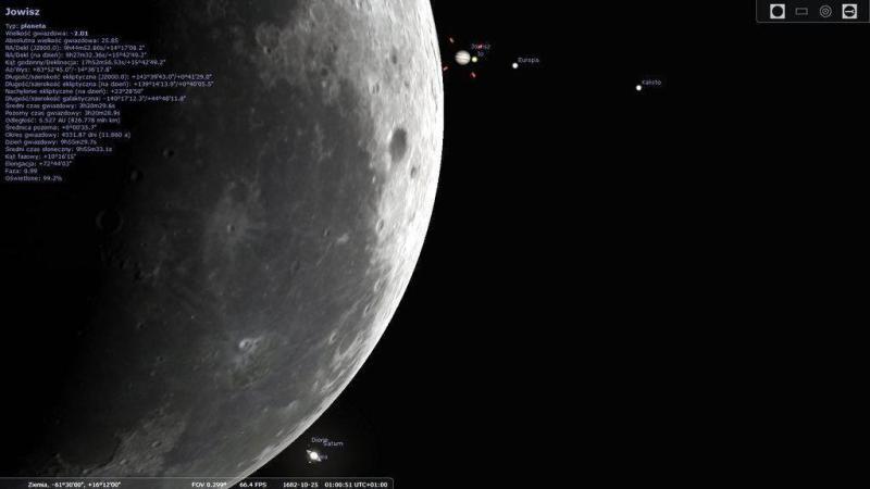 Ostatnie chwile przed podwójnym zakryciem Jowisza i Saturna z dnia 25.10.1682 roku
