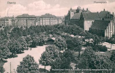 Plac Hanzy, z prawej strony szkoła św Piotra i Pawła.