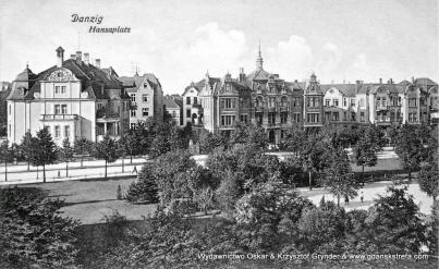 Północna strona Placu Hanzy. Z lewej willa prezydenta rejencji.