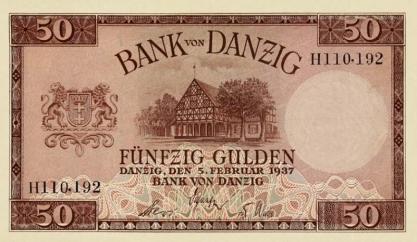 50 guldenów, na którym jest wizerunek domu podcieniowego w Koszwałach