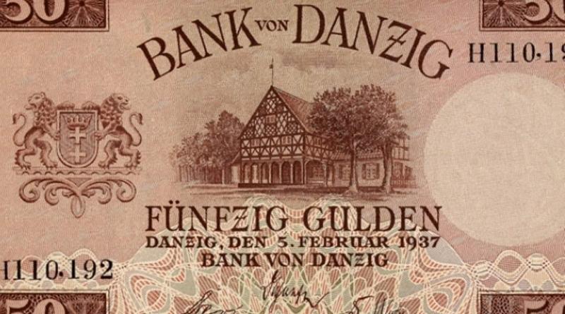 guldenów, na którym jest wizerunek domu podcieniowego w Koszwałach
