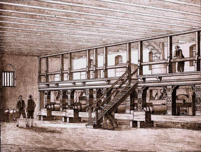 Wnętrze młyna przy Kamiennej Śluzie (E. Witt)