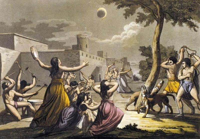 Strwożeni peruwiańscy Indianie podczas całkowitego zaćmienia Słońca, kolorowa litografia Gallo Galliny (1778–1837)
