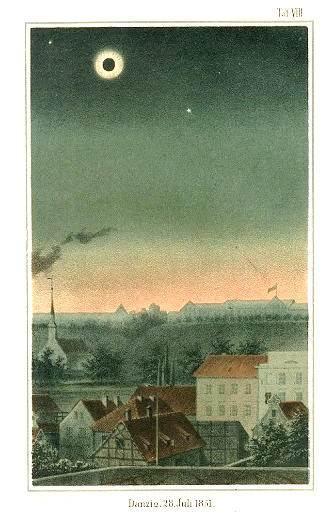 Zaćmienie z 1851 roku z widokiem na Biskupią Górkę w Gdańsku. Obok zaćmionego Słońca widoczny Merkury (róg po lewej) i Wenus (na prawo), litografia z atlasu Karla von Littrowa (1811-1877)