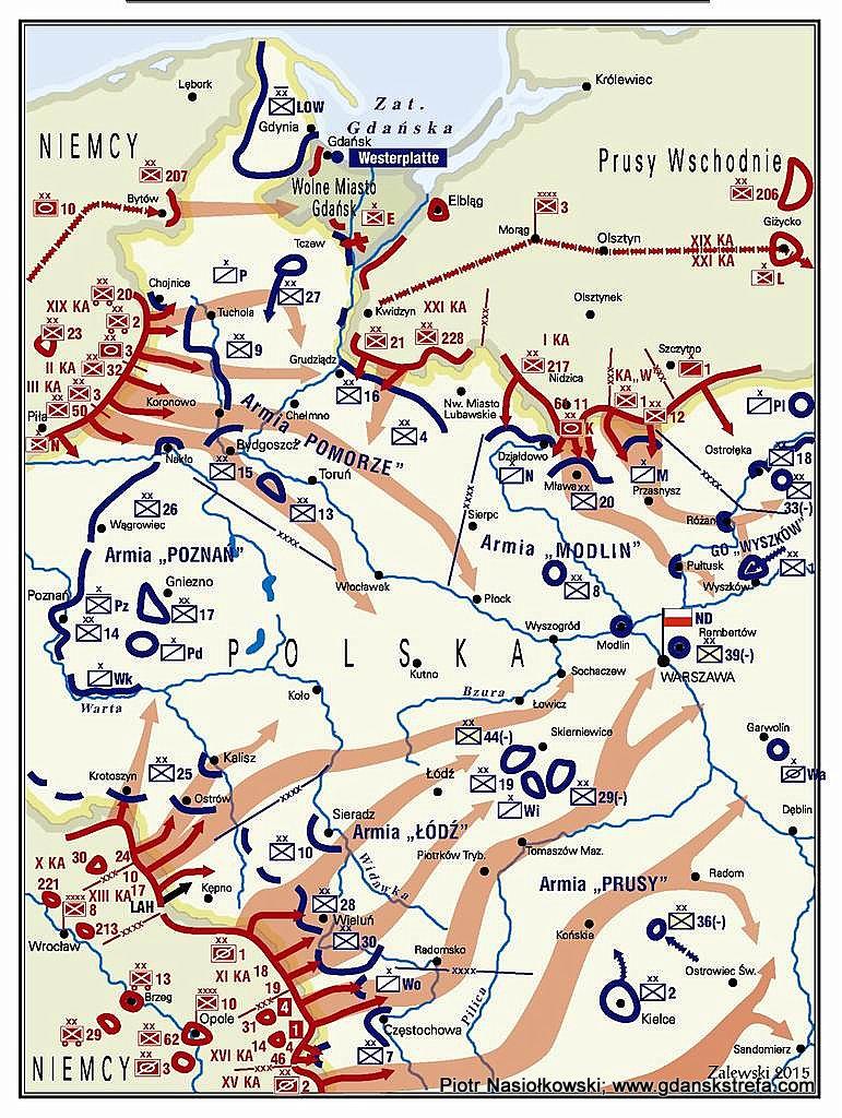 Mapa obrazująca dyslokację polskich sił oraz kierunki niemieckiego natarcia.