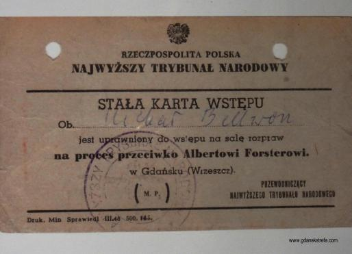 Karta wstępu na proces Alberta Forstera