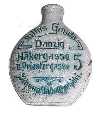 przedwojenna gdańska buteleczka do tabaki Julius Gosda, fot. kautabaktopf.de