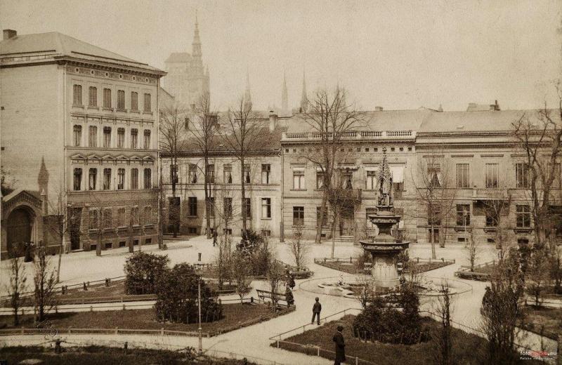 Plac Wintera i fragment Podwala Przedmiejskiego (Vorstadtischer Graben), widać numery 38-40. Fotopolska