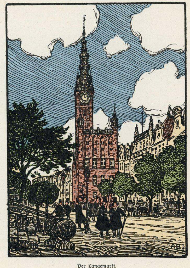 Ratusz Głównego Miasta, ilustracja Artura Bendrata
