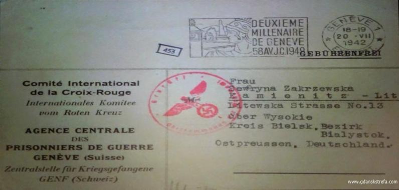 odpowiedź Międzynarodowego Czerwonego Krzyża z Genewy z lipca 1942 r. na poszukiwanie męża, kpt. Henryka Zakrzewskiego i brata, Tadeusza Chełchowskiego