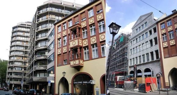 Ulica Braubachstraße z Technisches Rathaus i podczas budowy nowych kamienic.