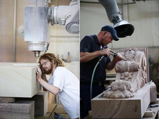 Kamień do rekonstrukcji cięty był mechanicznie a wykańczany ręcznie.