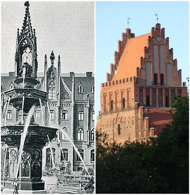 poczta na Lastadii i kościół śś. Piotra i Pawłą