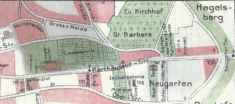 Fragment planu Siedlec z 1913 roku. W tej części miasta dominowały wówczas ogródki letnie. Źródło: Plan von Langfuhr (...) 1913, fragment współczesnej reprodukcji ze zbiorów autora.