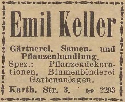 Reklama zakładu ogrodniczego Emila Kellera z 1924 roku. Źródło: ADB 1924.