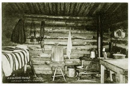 """Typowa chata """"wolfera"""" z Wyoming. Rok 1907."""