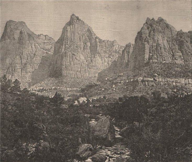 Góry Skaliste w stanie Wyoming. Rycina z roku 1885.