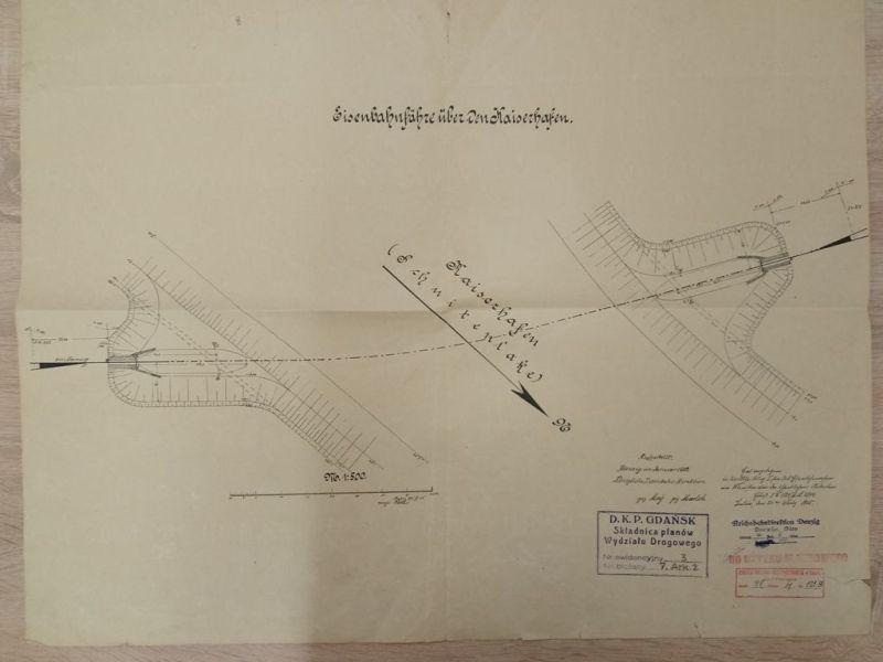 Plan kolejowy promu na Ostrów z 1905 roku