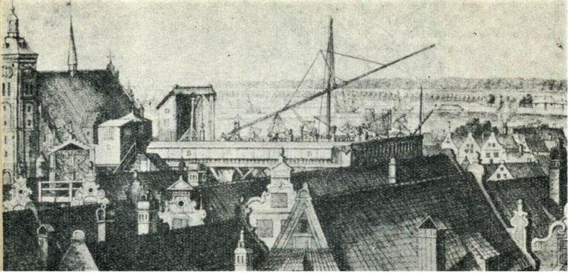 Obserwatorium astronomiczne J. Heweliusza wg rysunku A. Stecha; ze zbiorów PAN Biblioteki Gdańskiej