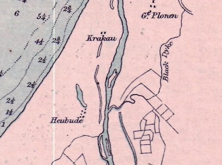 Krakowiecka Kępa na planie w 1869 roku (środek zdjęcia).